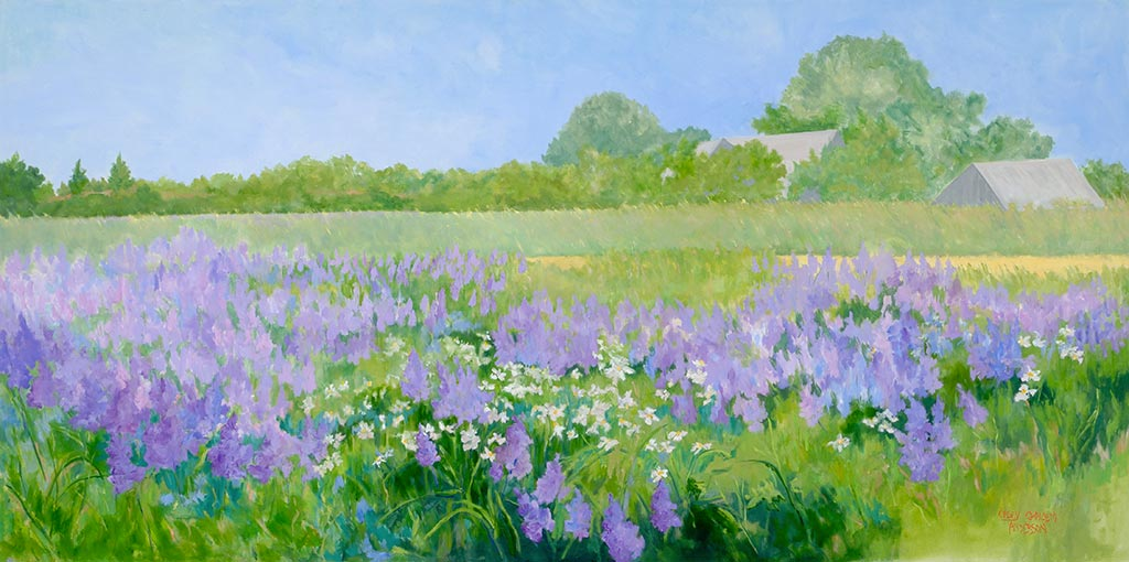 Lupine Field Sagg Easement, 30 x 60, oil on canvas