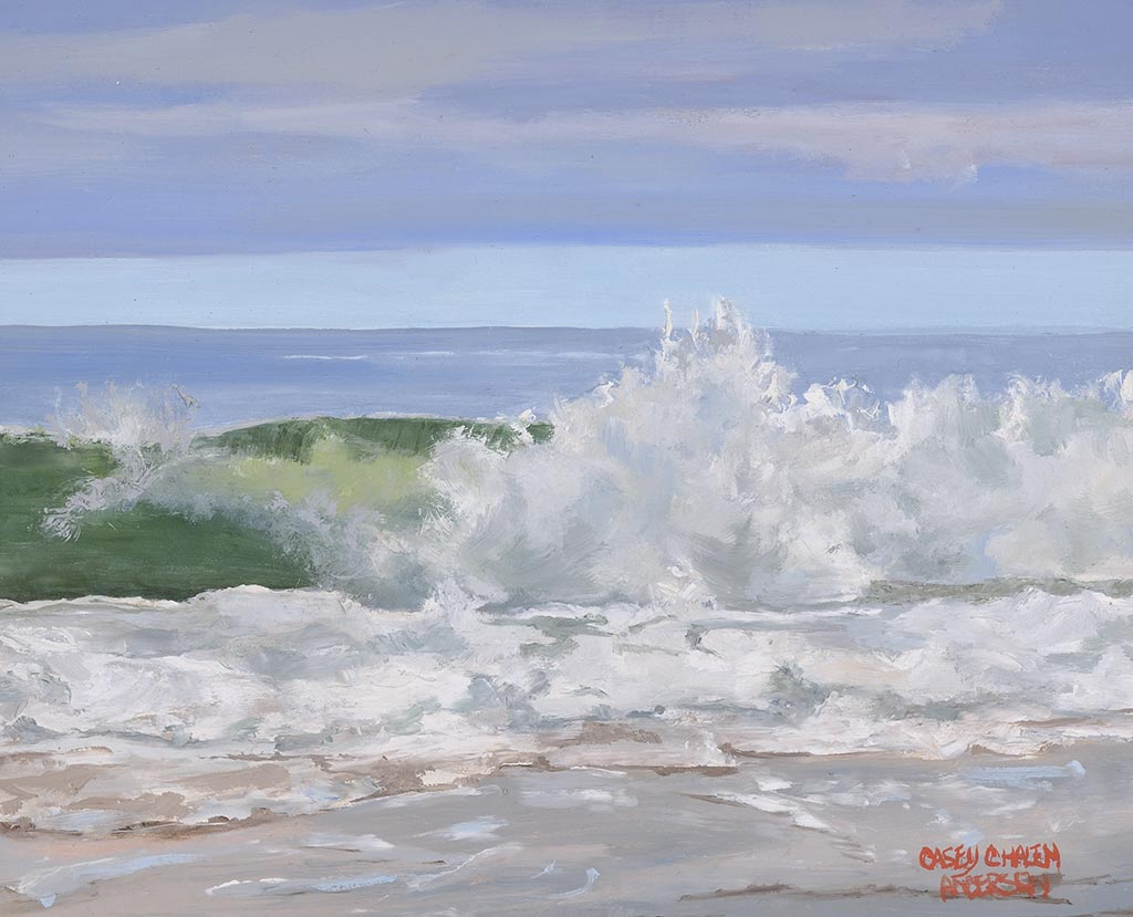 Rugged Green Wave, 8 x 10, oil on panel