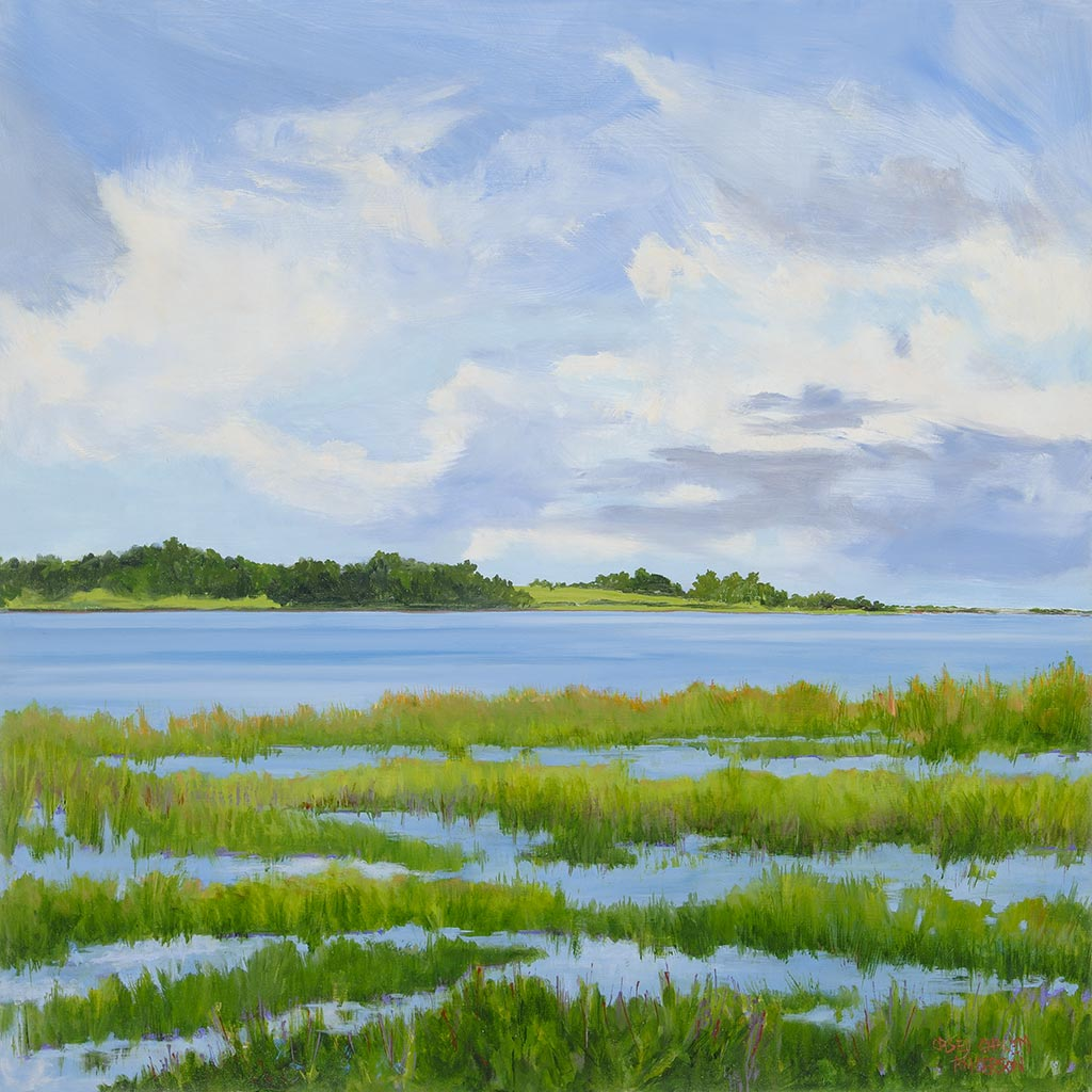 Scallop Pond Salt Marsh Wild Sky Preserve, 24 x 24, oil on wood