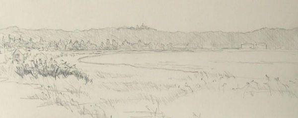 Bay at Long Beach pencil sketch