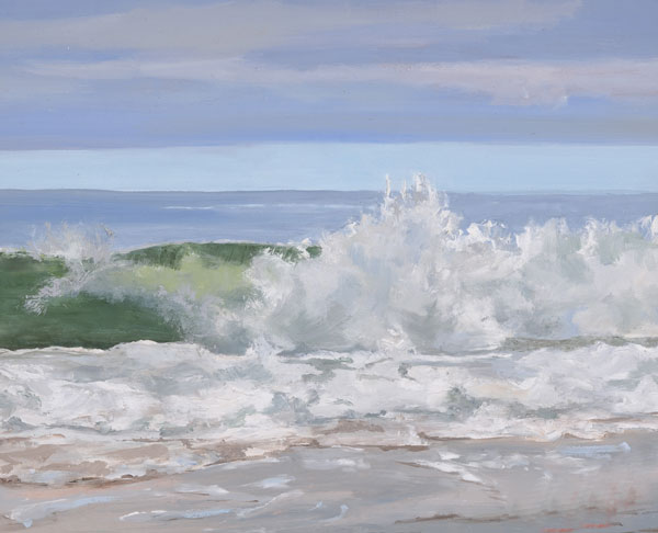 Rugged Green Wave, 8 x 10 oil on canvas