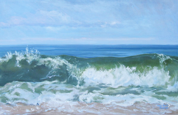 Atlantic Curl at Dune Beach, 24 x 36, oil on canvas