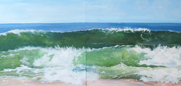 Triple Wave, oil on wood, 2 panels