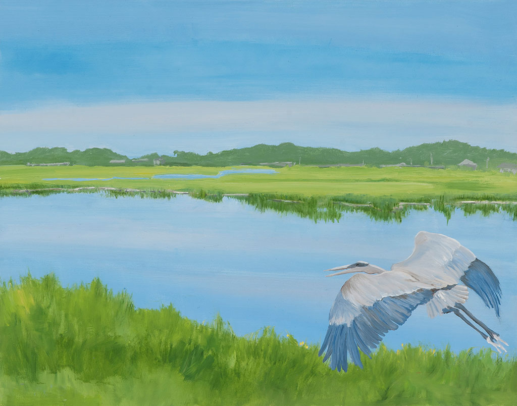 Blue Heron on a Glass Sea, 11 x 14, oil on wood