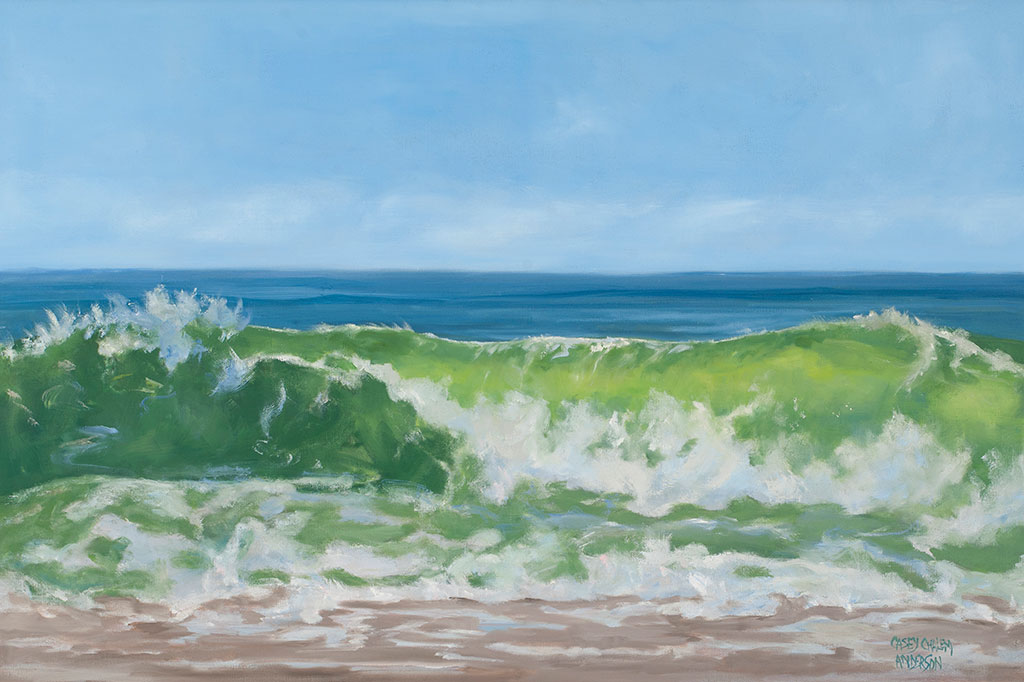 Green Glass Wave, 24 x 36, oil on linen