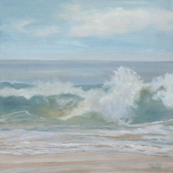 Soft Aqua Wave 24 x 24 oil on wood
