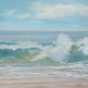 Soft Aqua Wave, 24 x 24, oil on wood, $3,200