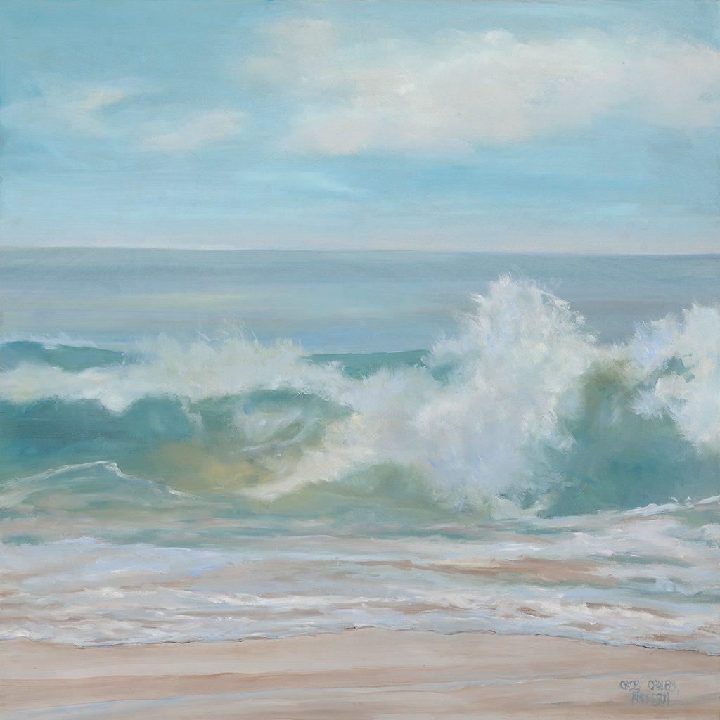 Soft Aqua Wave, 24 x 24, oil-on-wood