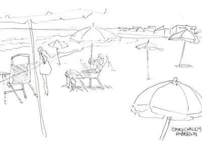 Bridgehampton Ocean Beach, 5.5 x 8.5, ink/paper