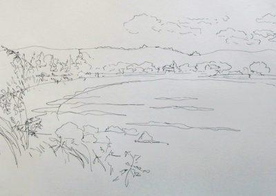 Long Beach Sag Harbor, 9 x 14, pen and ink